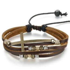 Other - Cross Leather Bracelet For Men Women Adjustable